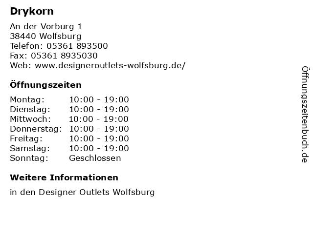 Drykorn in Wolfsburg: Adresse und Öffnungszeiten