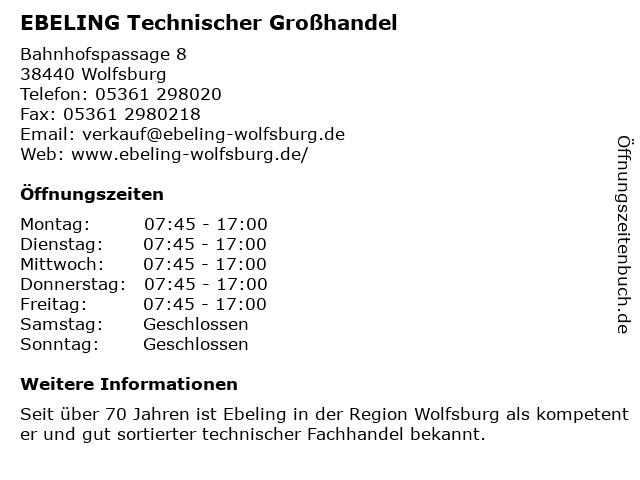 EBELING Technischer Großhandel in Wolfsburg: Adresse und Öffnungszeiten