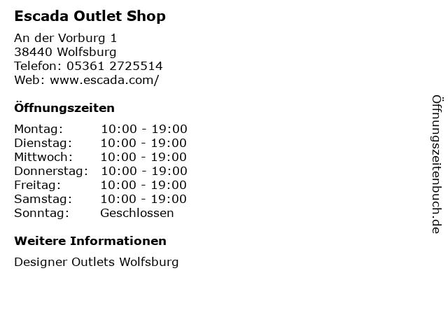 Escada Outlet Shop in Wolfsburg: Adresse und Öffnungszeiten