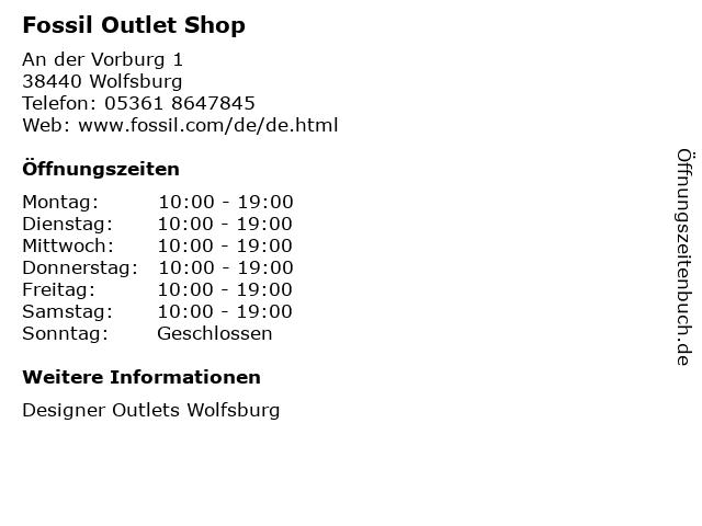 Fossil Outlet Shop in Wolfsburg: Adresse und Öffnungszeiten