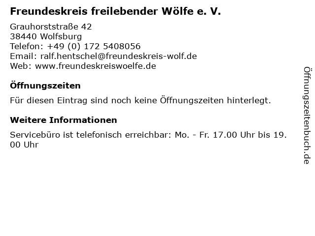 Freundeskreis freilebender Wölfe e. V. in Wolfsburg: Adresse und Öffnungszeiten