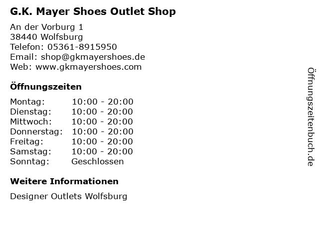 G.K. Mayer Shoes Outlet Shop in Wolfsburg: Adresse und Öffnungszeiten