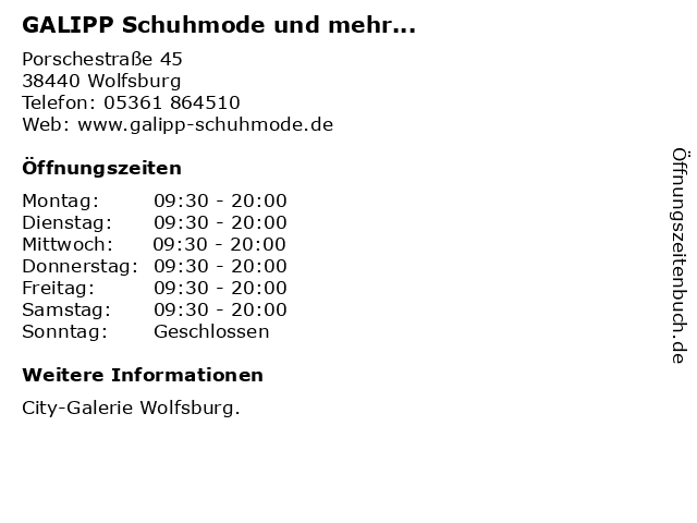 GALIPP Schuhmode und mehr... in Wolfsburg: Adresse und Öffnungszeiten