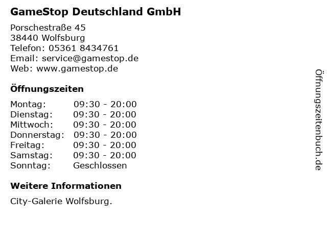 GameStop Deutschland GmbH in Wolfsburg: Adresse und Öffnungszeiten