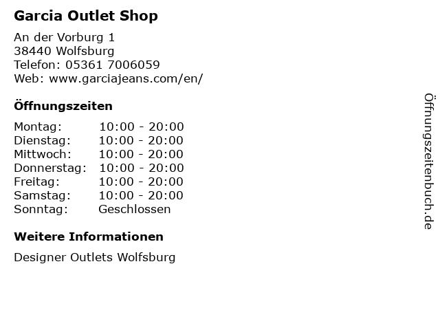 Garcia Outlet Shop in Wolfsburg: Adresse und Öffnungszeiten