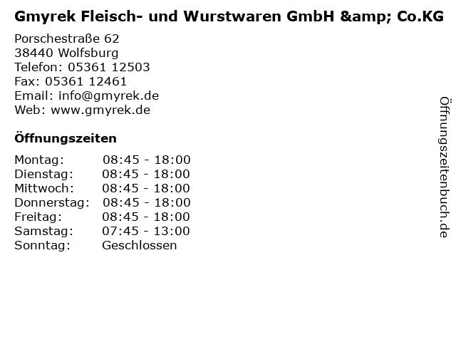 Gmyrek Fleisch- und Wurstwaren GmbH & Co.KG in Wolfsburg: Adresse und Öffnungszeiten