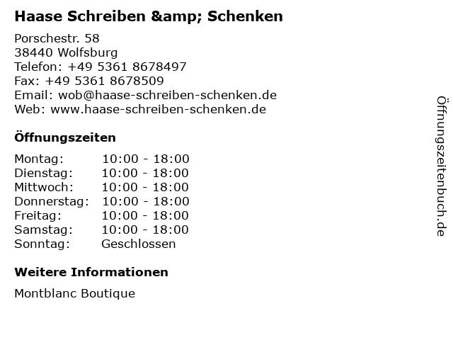 Haase Schreiben & Schenken in Wolfsburg: Adresse und Öffnungszeiten