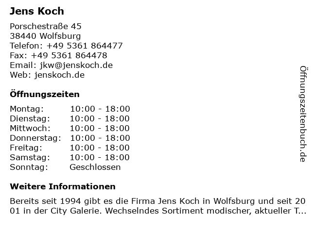 Jens Koch in Wolfsburg: Adresse und Öffnungszeiten