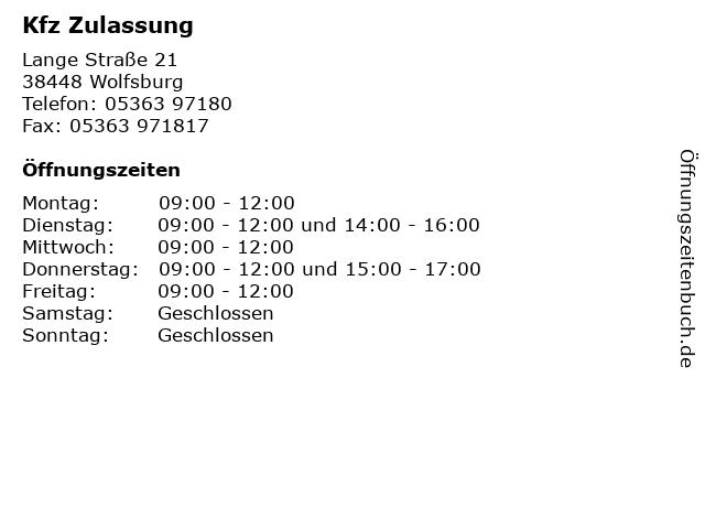 Kfz Zulassung in Wolfsburg: Adresse und Öffnungszeiten