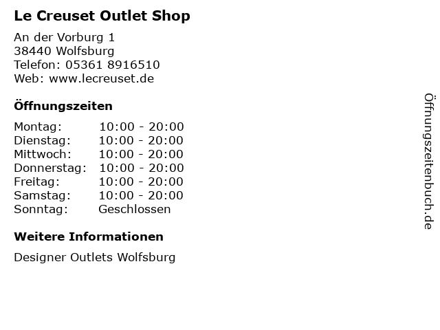 Le Creuset Outlet Shop in Wolfsburg: Adresse und Öffnungszeiten