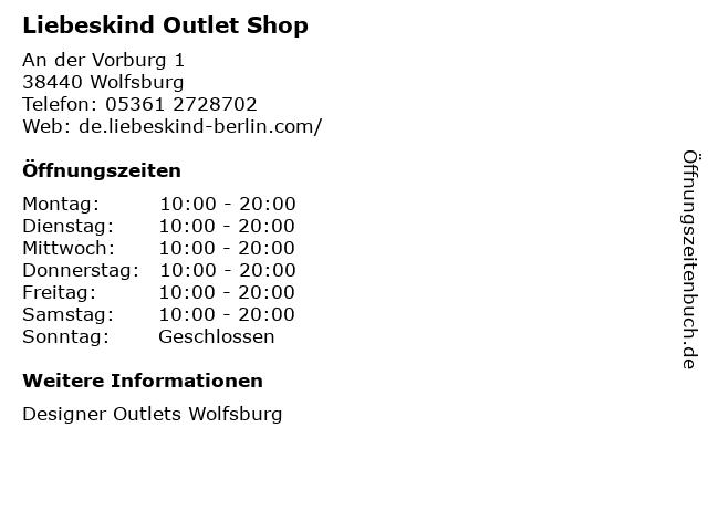 Liebeskind Outlet Shop in Wolfsburg: Adresse und Öffnungszeiten