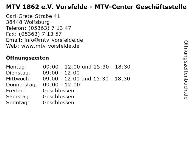MTV 1862 e.V. Vorsfelde - MTV-Center Geschäftsstelle in Wolfsburg: Adresse und Öffnungszeiten