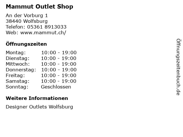 Mammut Outlet Shop in Wolfsburg: Adresse und Öffnungszeiten