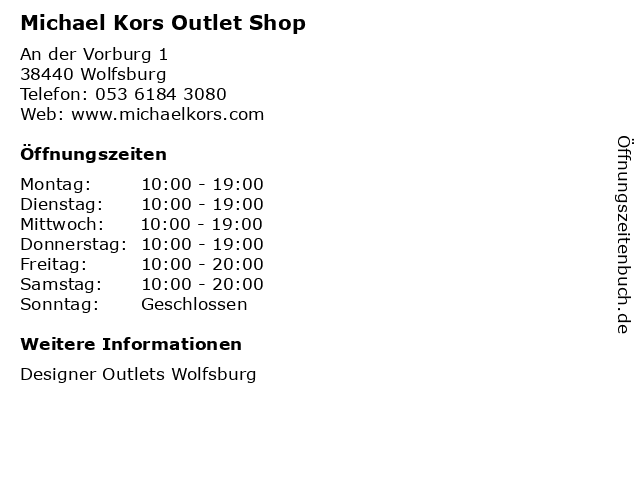 Michael Kors Outlet Shop in Wolfsburg: Adresse und Öffnungszeiten