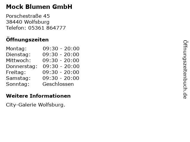 Mock Blumen GmbH in Wolfsburg: Adresse und Öffnungszeiten