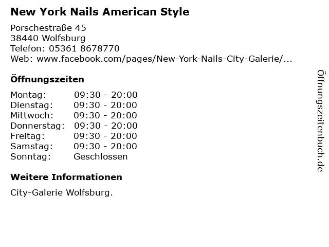 New York Nails American Style in Wolfsburg: Adresse und Öffnungszeiten