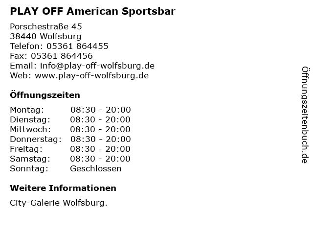 PLAY OFF American Sportsbar in Wolfsburg: Adresse und Öffnungszeiten