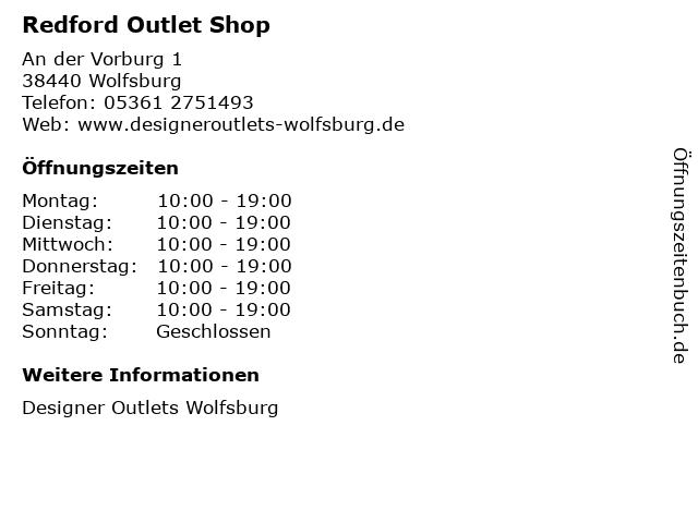 Redford Outlet Shop in Wolfsburg: Adresse und Öffnungszeiten