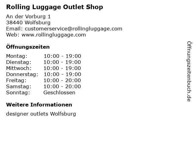 Rolling Luggage Outlet Shop in Wolfsburg: Adresse und Öffnungszeiten