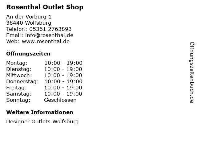 Rosenthal Outlet Shop in Wolfsburg: Adresse und Öffnungszeiten