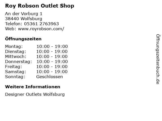 Roy Robson Outlet Shop in Wolfsburg: Adresse und Öffnungszeiten