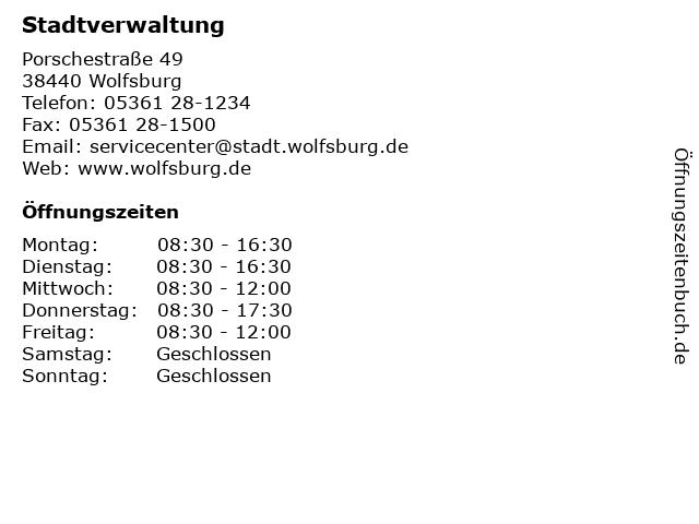 Stadt Wolfsburg Stadtverwaltung in Wolfsburg: Adresse und Öffnungszeiten