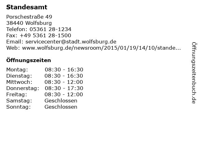Standesamt in Wolfsburg: Adresse und Öffnungszeiten