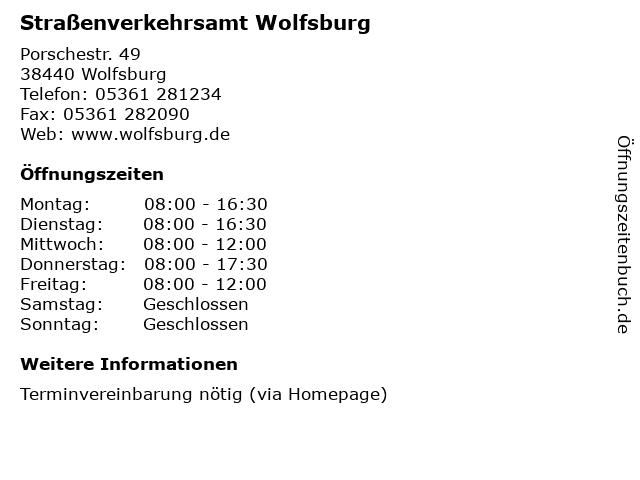 Straßenverkehrsamt Wolfsburg in Wolfsburg: Adresse und Öffnungszeiten