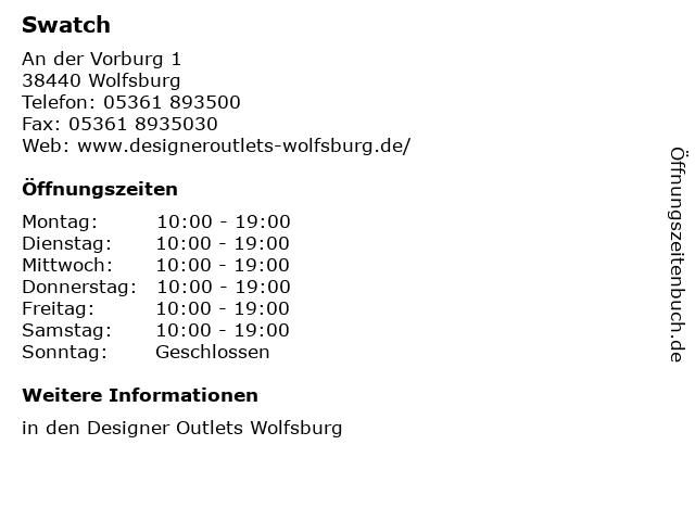 Swatch in Wolfsburg: Adresse und Öffnungszeiten