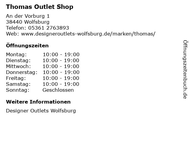 Thomas Outlet Shop in Wolfsburg: Adresse und Öffnungszeiten