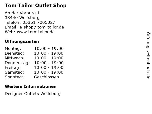 Tom Tailor Outlet Shop in Wolfsburg: Adresse und Öffnungszeiten