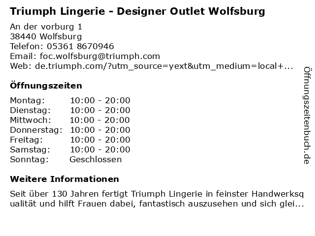 Triumph Lingerie - Designer Outlet Wolfsburg in Wolfsburg: Adresse und Öffnungszeiten