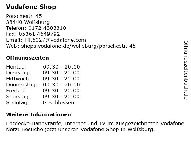 Vodafone Shop in Wolfsburg: Adresse und Öffnungszeiten