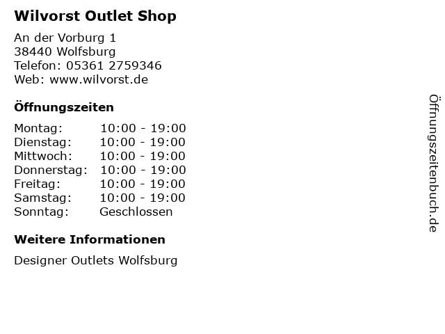 Wilvorst Outlet Shop in Wolfsburg: Adresse und Öffnungszeiten