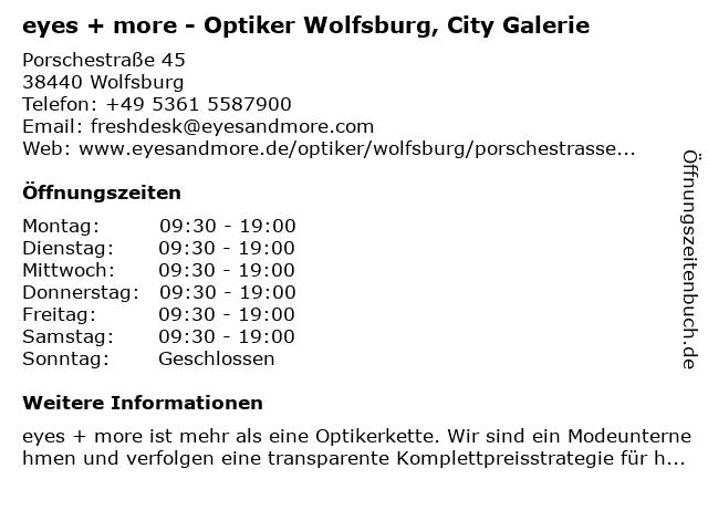 eyes and more GmbH in Wolfsburg: Adresse und Öffnungszeiten