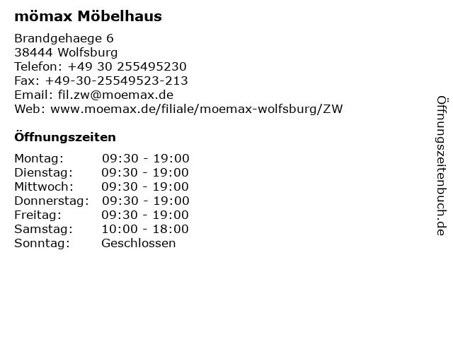 ᐅ öffnungszeiten Mömax Möbelhaus Wolfsburg Brandgehaege 6 In