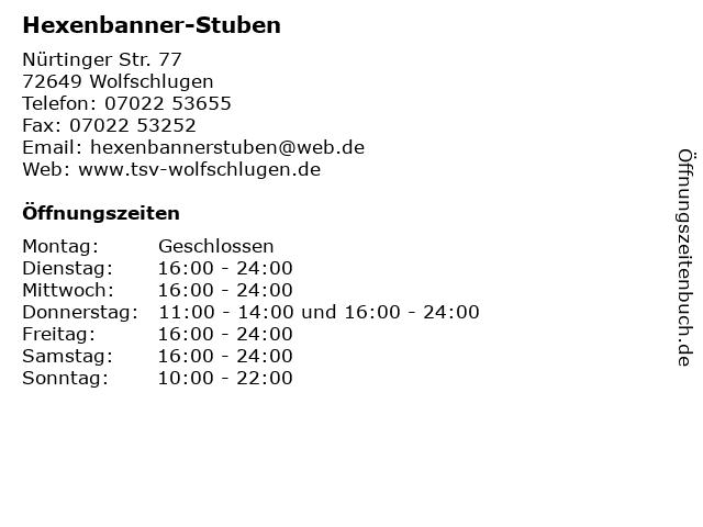 Hexenbanner-Stuben in Wolfschlugen: Adresse und Öffnungszeiten