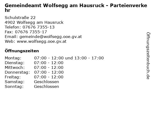 Gemeindeamt Wolfsegg am Hausruck - Parteienverkehr in Wolfsegg am Hausruck: Adresse und Öffnungszeiten