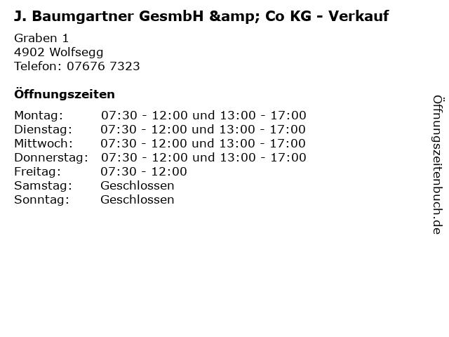 J. Baumgartner GesmbH & Co KG - Verkauf in Wolfsegg: Adresse und Öffnungszeiten
