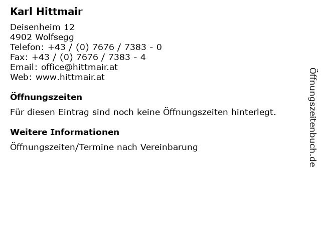 Karl Hittmair in Wolfsegg: Adresse und Öffnungszeiten