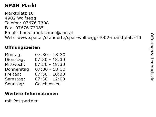 SPAR Markt in Wolfsegg: Adresse und Öffnungszeiten