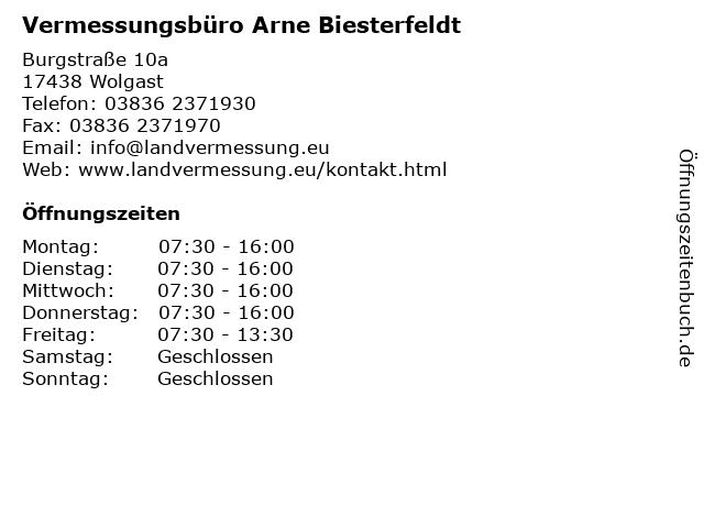 Vermessungsbüro Arne Biesterfeldt in Wolgast: Adresse und Öffnungszeiten