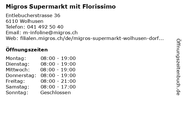 MIGROS Supermarkt in Wolhusen: Adresse und Öffnungszeiten