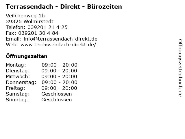 Terrassendach - Direkt - Bürozeiten in Wolmirstedt: Adresse und Öffnungszeiten