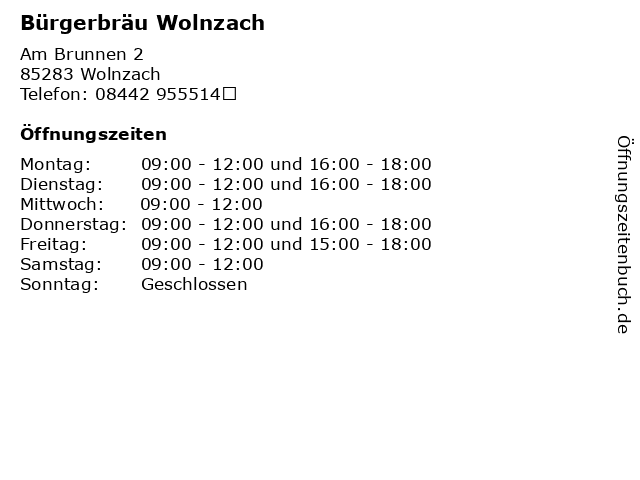Bürgerbräu Wolnzach in Wolnzach: Adresse und Öffnungszeiten
