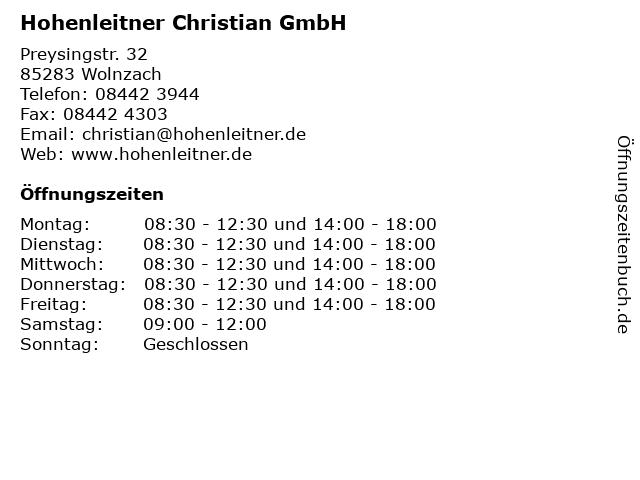 Hohenleitner Christian GmbH in Wolnzach: Adresse und Öffnungszeiten