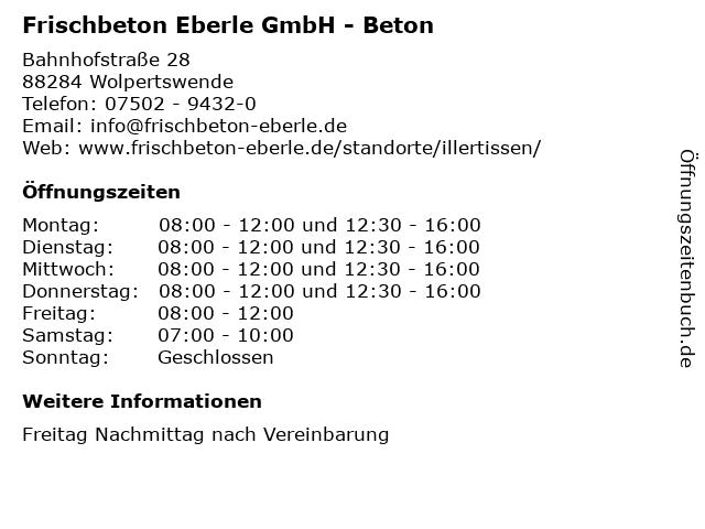 Frischbeton Eberle GmbH - Beton in Wolpertswende: Adresse und Öffnungszeiten