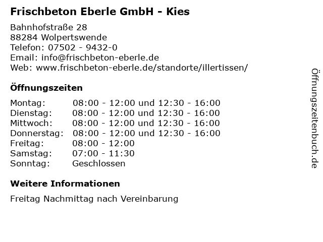 Frischbeton Eberle GmbH - Kies in Wolpertswende: Adresse und Öffnungszeiten