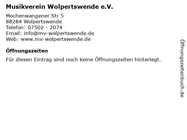 Musikverein Wolpertswende e.V. in Wolpertswende: Adresse und Öffnungszeiten