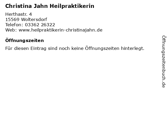 Christina Jahn Heilpraktikerin in Woltersdorf: Adresse und Öffnungszeiten